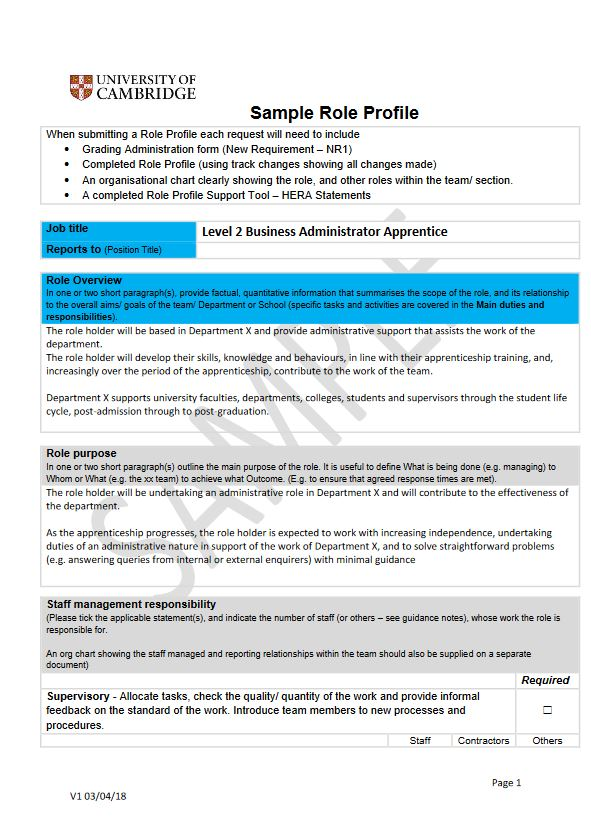 Click to view a sample Business Administrator role profile