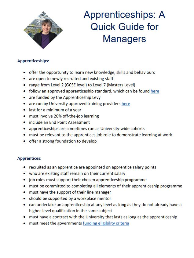 Click to view Apprenticeships: A quick guide for managers